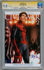 Civil War #2 2nd Print Spider-man Variant CGC 9.8 Signature Series Signed McNiven Marvel comic